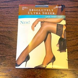 NEW Hanes Jet Black Lace Top Sheer Thigh Highs